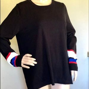 Vince Camuto black pullover with red white blue M
